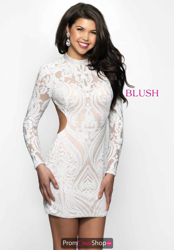 Sequin Long Sleeve Blush Dress B114