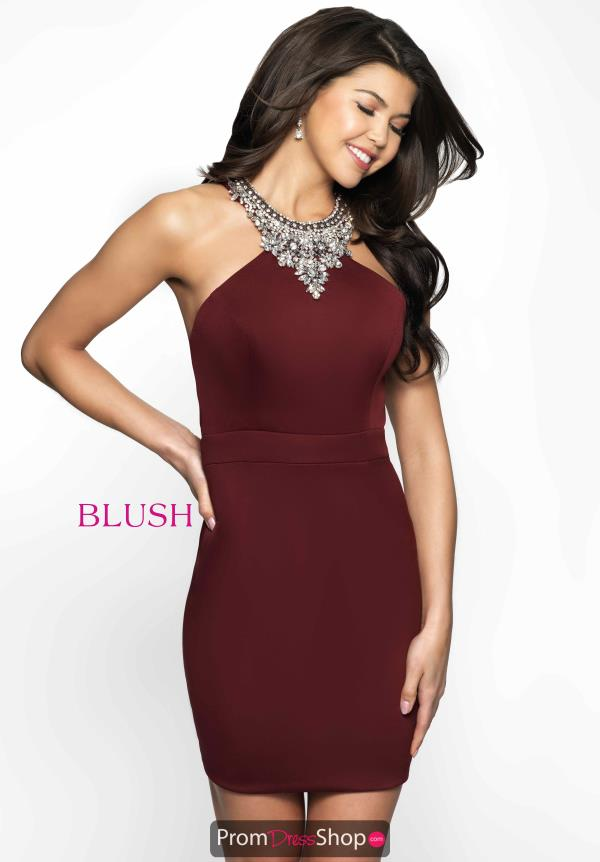 Fitted Beaded Halter Blush Dress B130