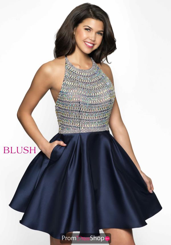 High Beaded Satin Blush Dress C1112