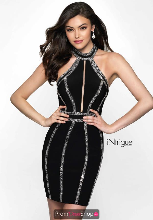 Intrigue by Blush High Neckline Fitted Dress 489