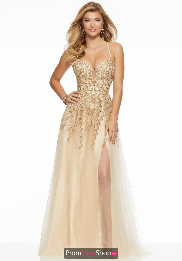 Mori Lee V-Neck Applique Dress 43027