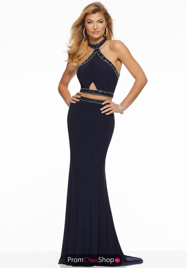Mori Lee Halter Beaded Dress 43048