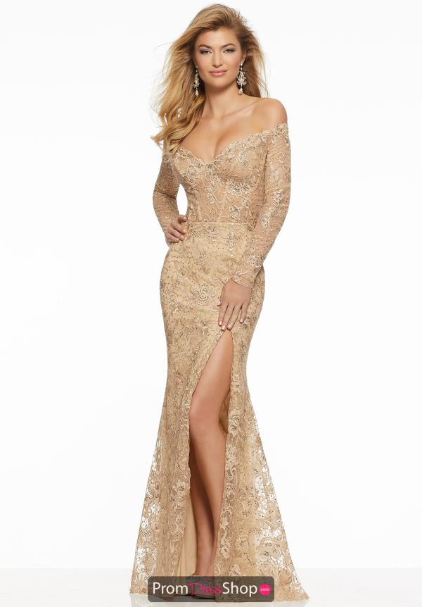 Mori Lee Long Sleeve Beaded Dress 43052