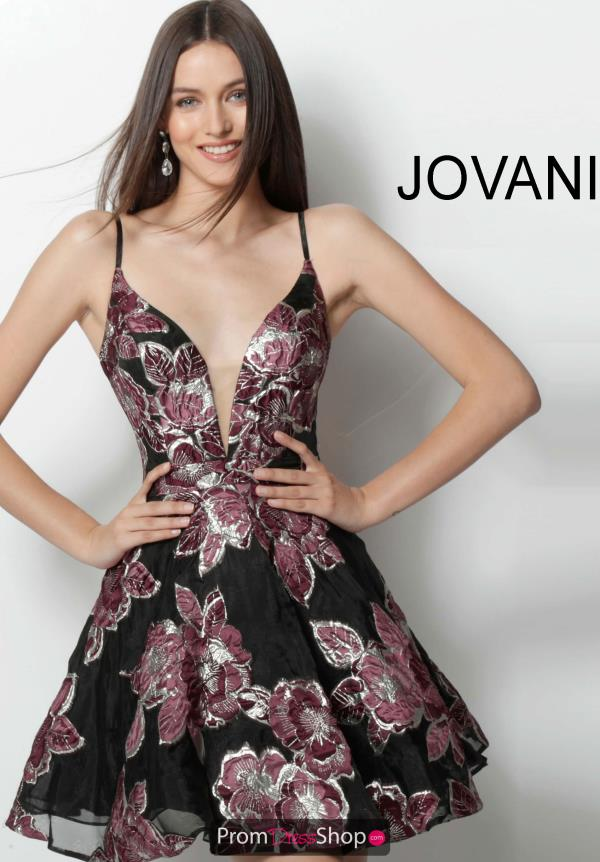 Jovani Short V- Neckline A Line Dress 64090