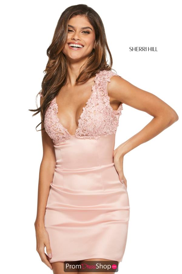 Sherri Hill Short V- Neckline Fitted Dress 53239