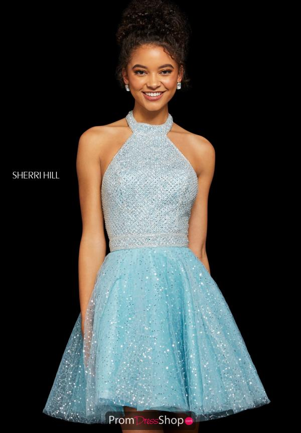 Sherri Hill Short Halter Top A Line Dress 53145