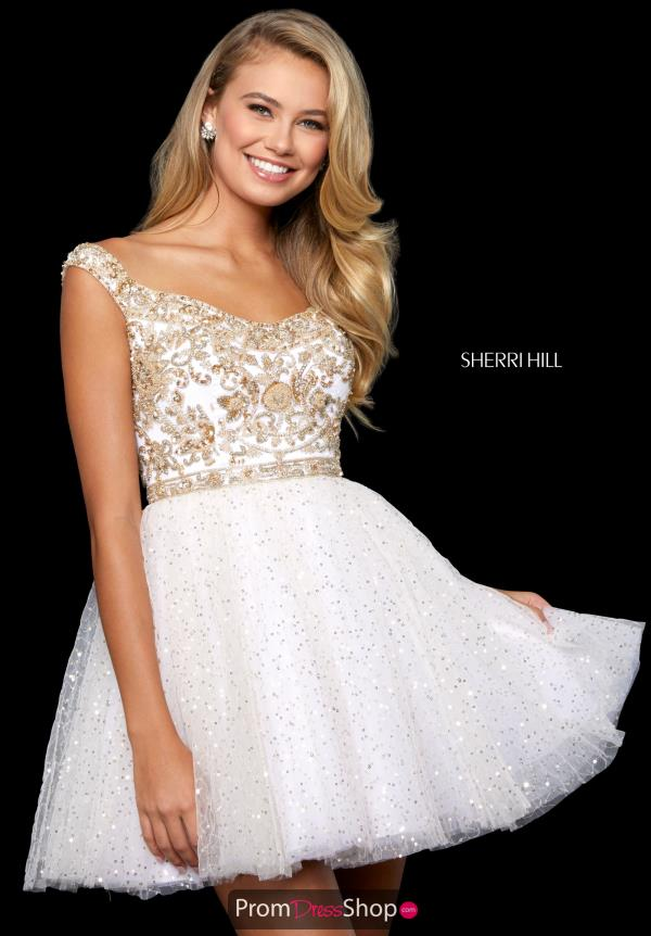 Sherri Hill Short Tulle Skirt A Line Dress 53229