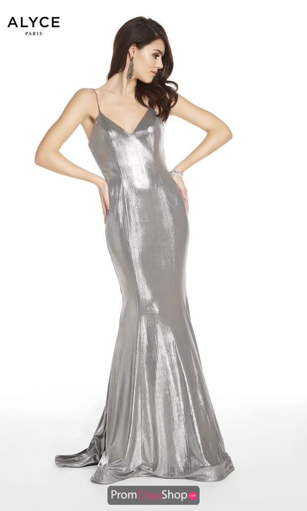 Alyce Paris Fitted Silver Dress 60585
