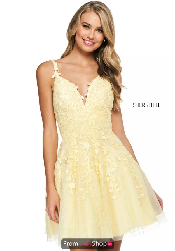 Sherri Hill Short Prom Dresses Yellow