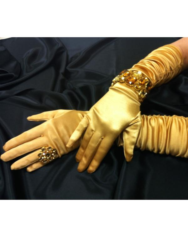 Beautiful Scrunchy Gold Gloves