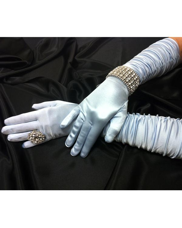 Scrunchy Long Pastel Blue Gloves