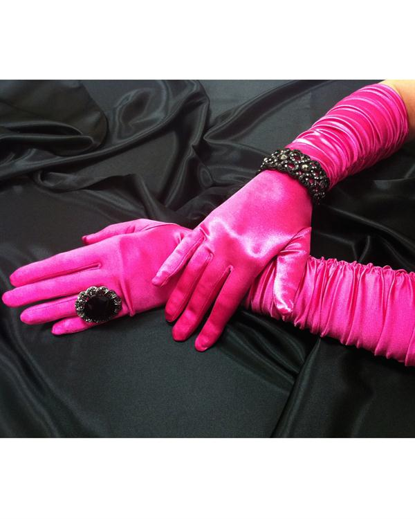 Scrunchy Bright Fuchsia Gloves
