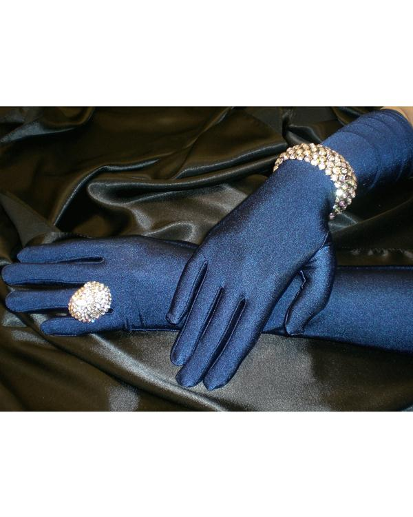 Charming Long Matte Navy Gloves