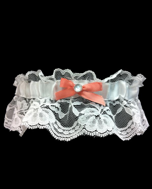 Prom Blazing Coral Lace Garter
