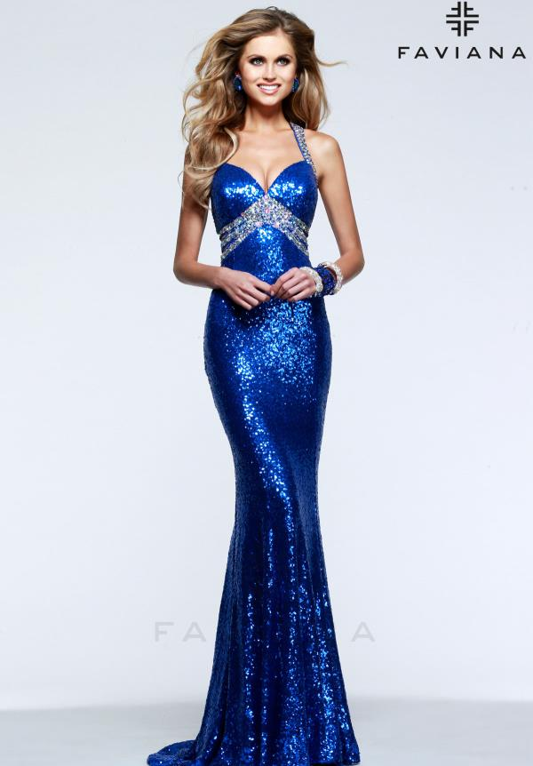 Faviana Navy Fitted Sequins Dress 7507