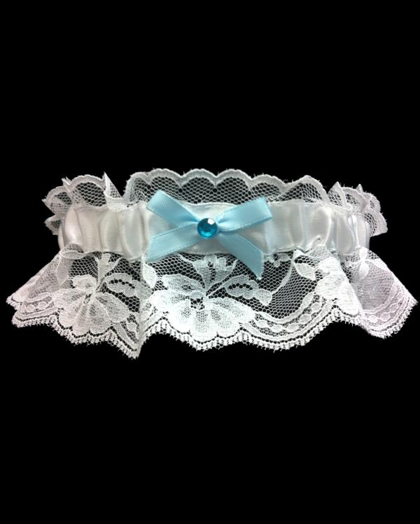 Lace Light Blue Bow Prom Garter