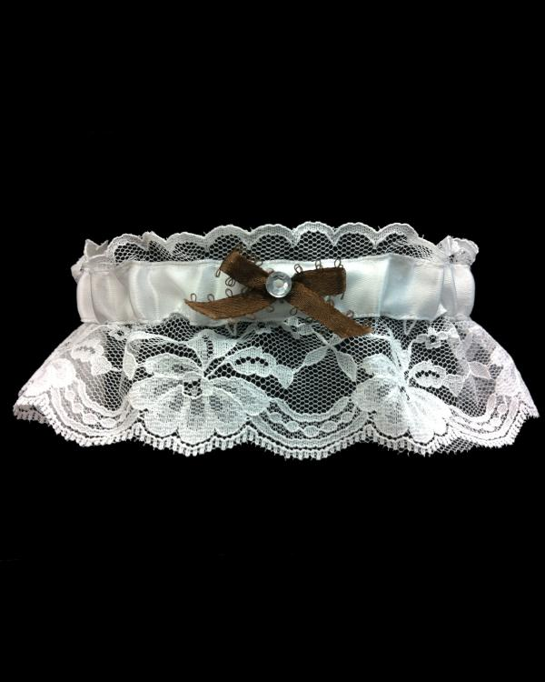 Brown lace Single Stone Prom Garter