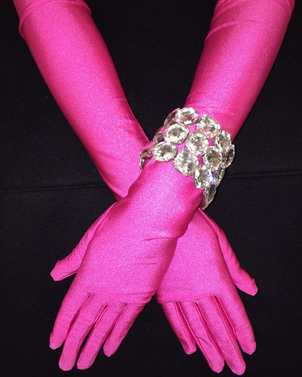 Long Straight Fuchsia Matte Gloves