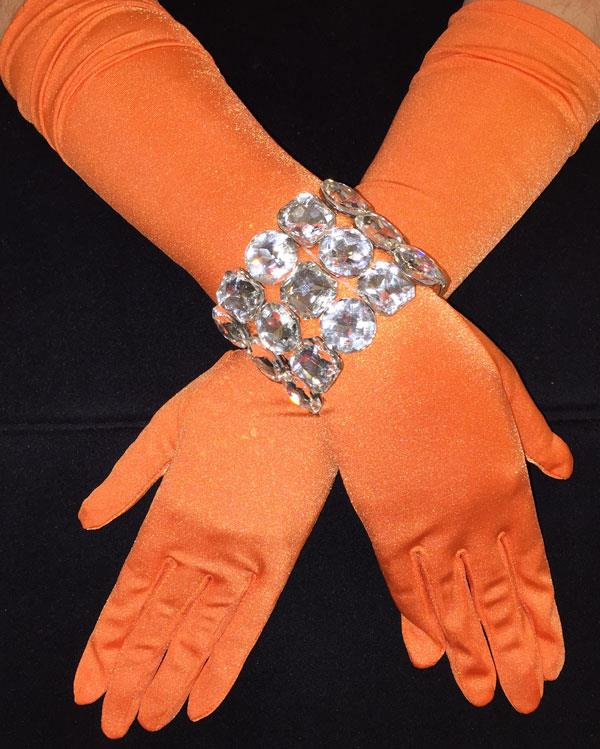 Matte Bright Long Tangerine Gloves