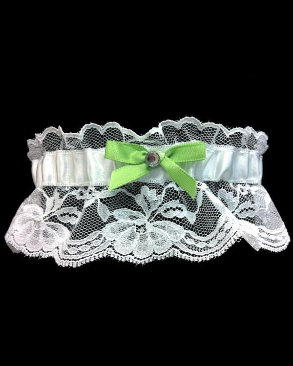 Lace Lime Green Bow Prom Garter