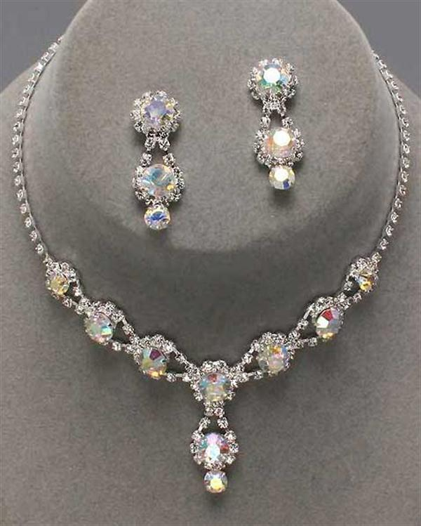 Drop Iridescent Rhinestone Necklace Set