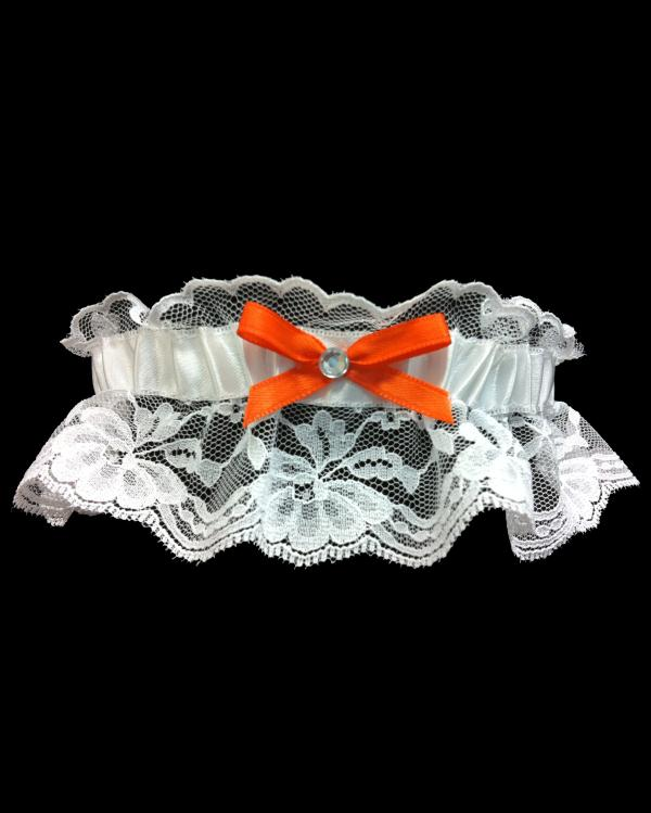 Bright Prom Orange Lace Garter