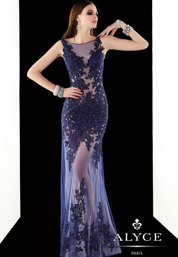 Alyce Paris Long Sheer Dress 2384