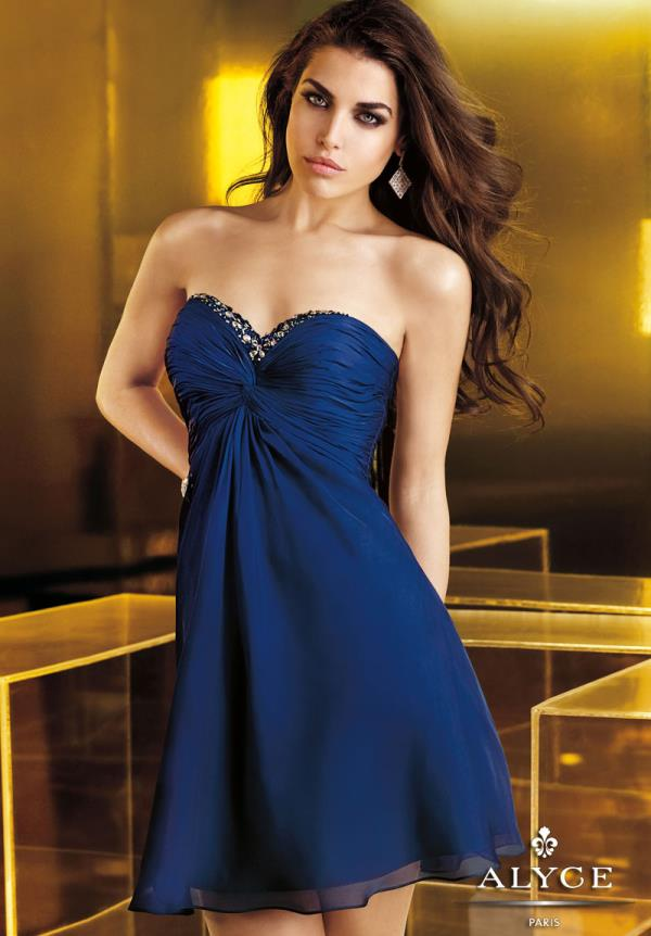 Alyce Short Navy Strapless A-Line Dress 4332