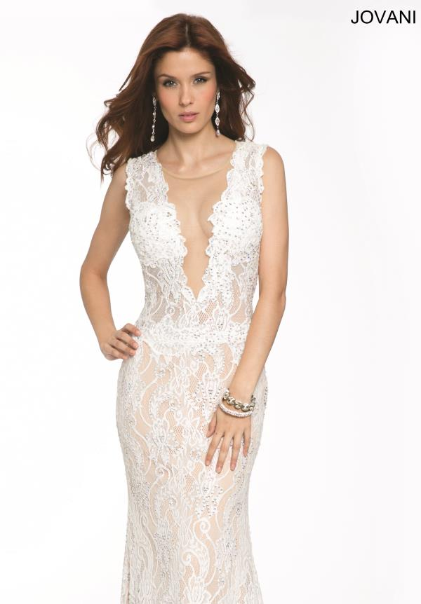 Jovani Deep V- Neckline Dress 99077
