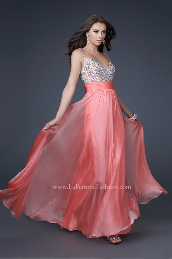 16802 Long La Femme Coral Dress
