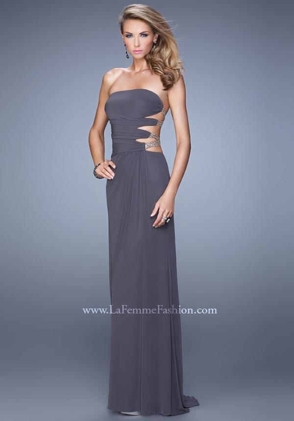 La Femme 21197 Elegant Long Orange Dress