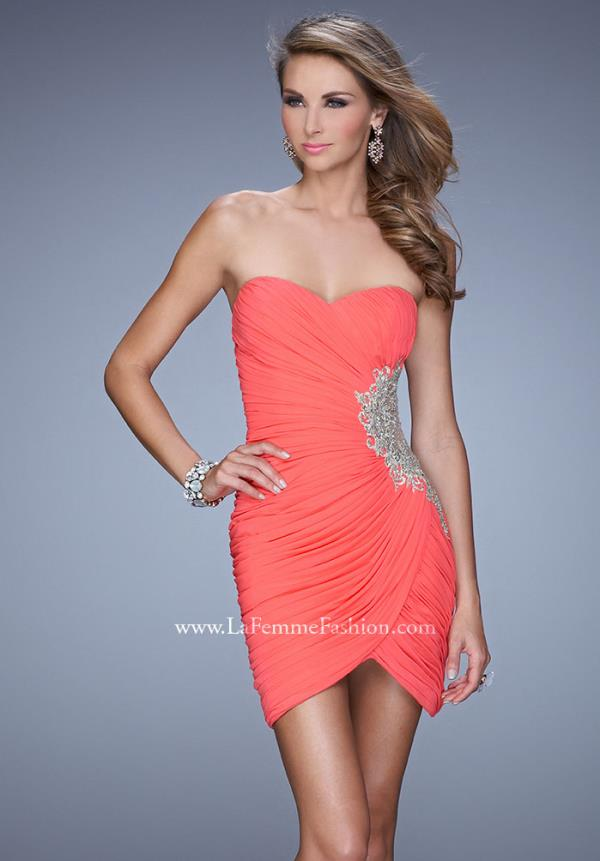 La Femme Short Ruched Fitted Dress 21344