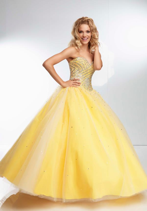 Mori Lee Beaded Ball Gown Dress 95056