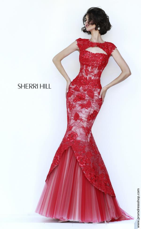 Sherri Hill Cap Sleeved Corset Dress 11232