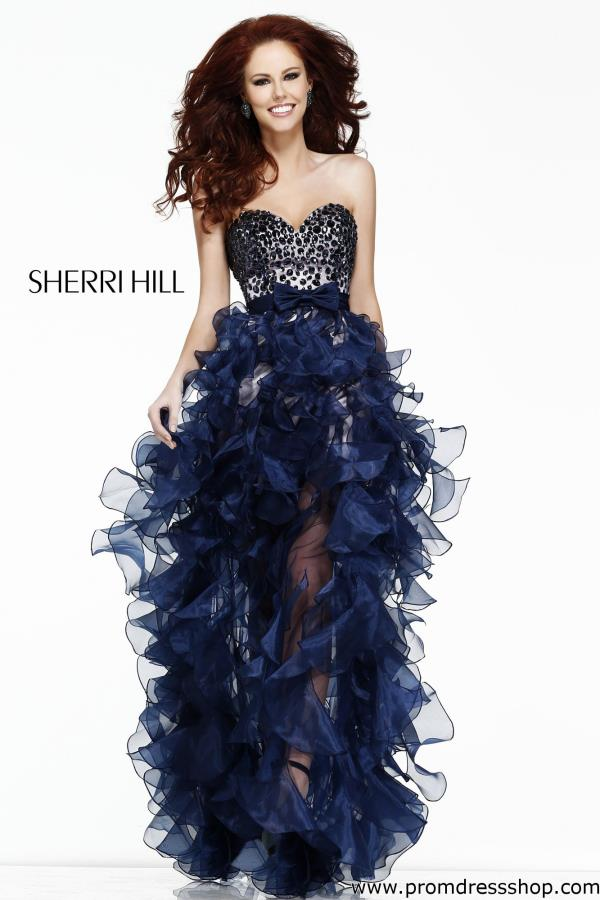 Sherri Hill High Low Beaded Dress 21158