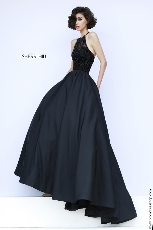 Sherri Hill Fitted Waistline Long Navy Dress 32120