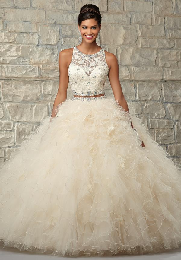 Vizcaya Aqua Ruffled Quinceanera Dress 89026