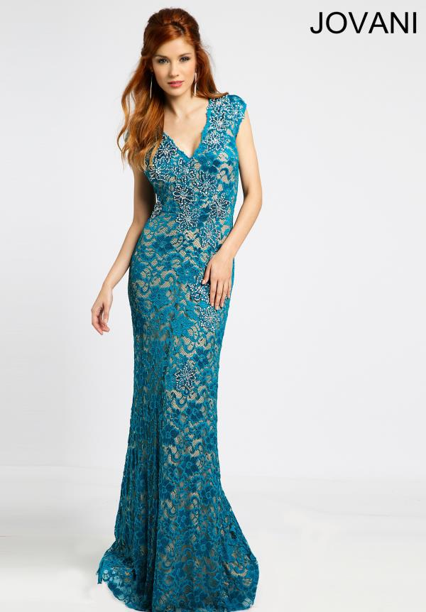 Jovani Fitted V- Neckline Dress 94103