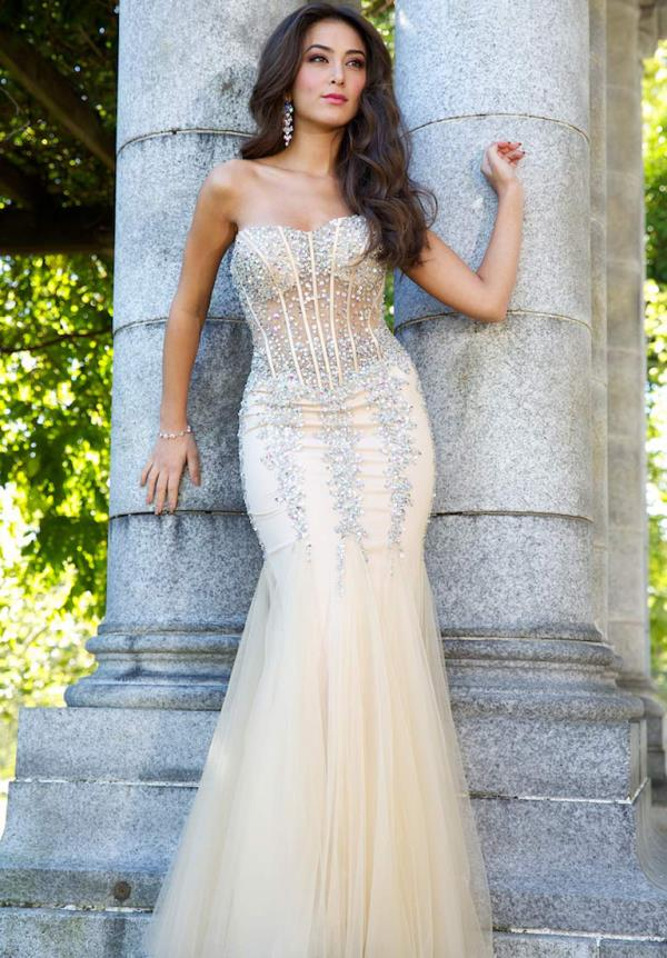 White Lace Corset Prom Dress