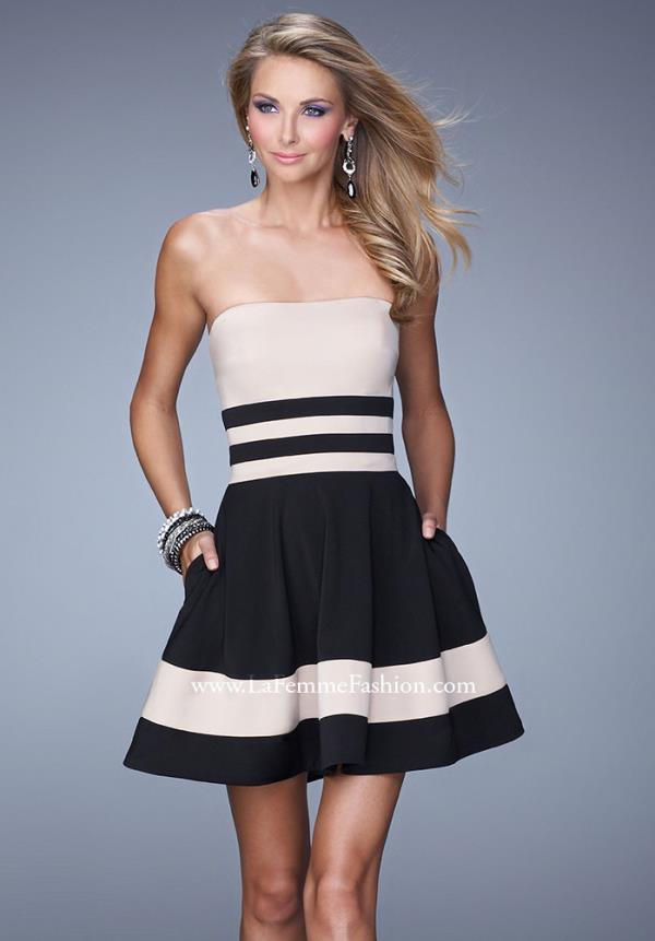 La Femme Strapless Black Holiday Dress 21121