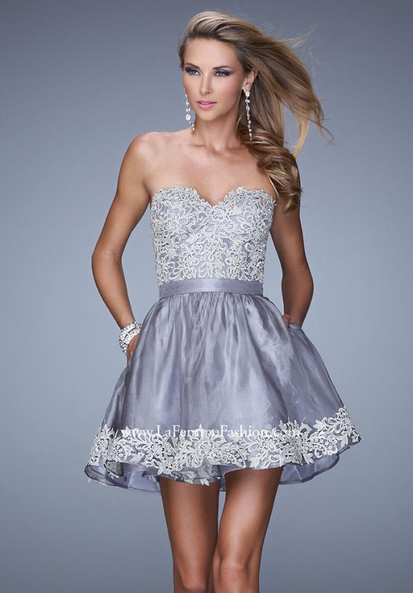 La Femme Short Organza Skirt Dress 21306