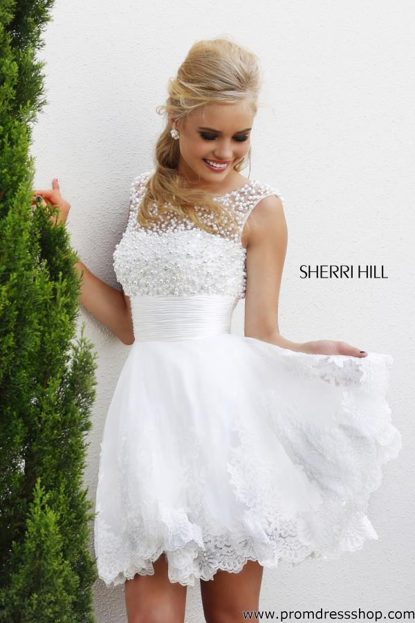Sherri Hill Short Beaded Graduation Dress 4302