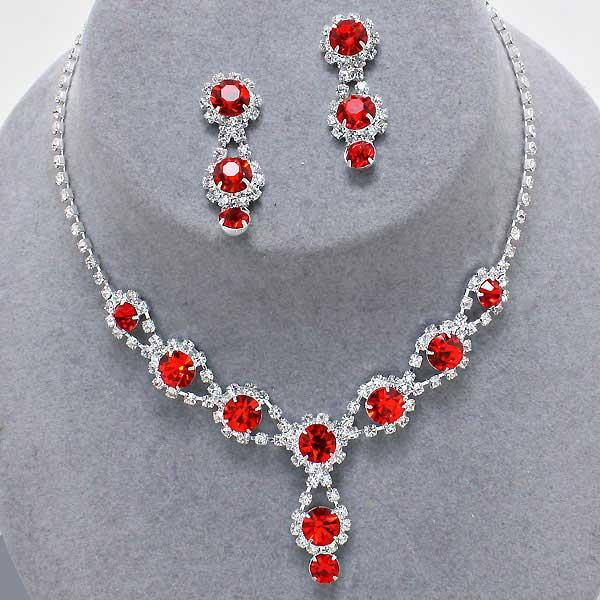 Drop Red Rhinestone Necklace Set
