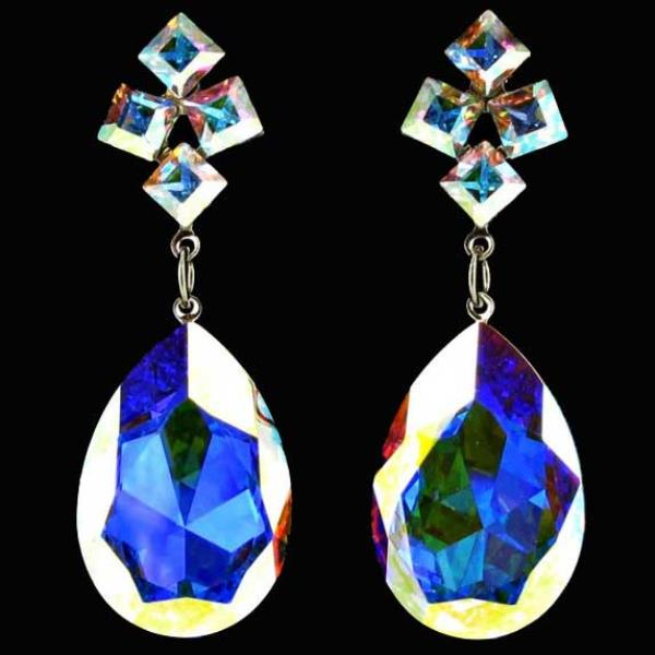 Iridescent Swarovski Crystal Jim Ball CE337 Earrings