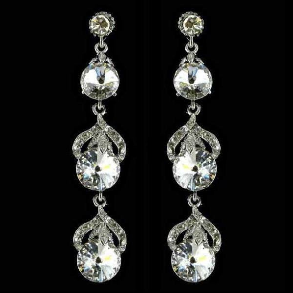 Dazzling Long Drop Silver Earrings