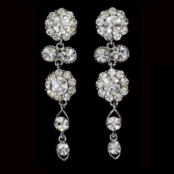 Cascading Silver Short Earrings