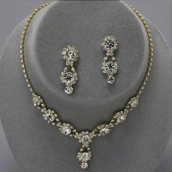 Drop Gold and Silver Rhinestone Necklace Set