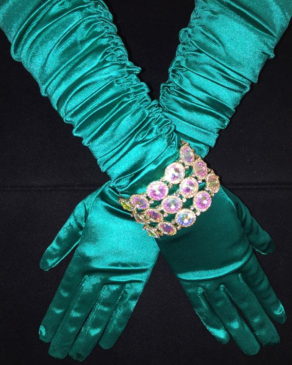 Vibrant Srcunchy Teal Green Gloves