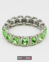 Silver BAse with Lime Green Stones