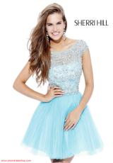 Sherri Hill Short 2814.  Available in Black, Blush/Silver, Coral, Gunmetal/Gunmetal, Gunmetal/Pink, Light Blue, Light Pink, Navy/Gunmetal, Navy/Multi, Nude, Red/Red, White, Yellow/Silver